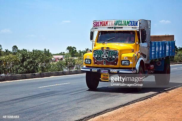 Truck moving on the road Kanchipuram Tamil Nadu India