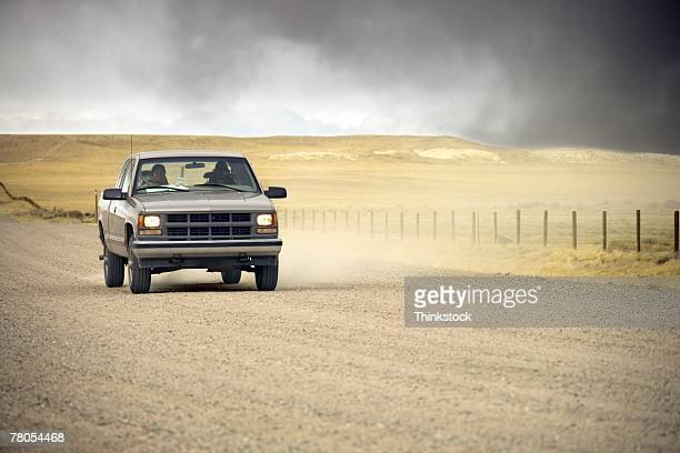 Truck on dirt road
