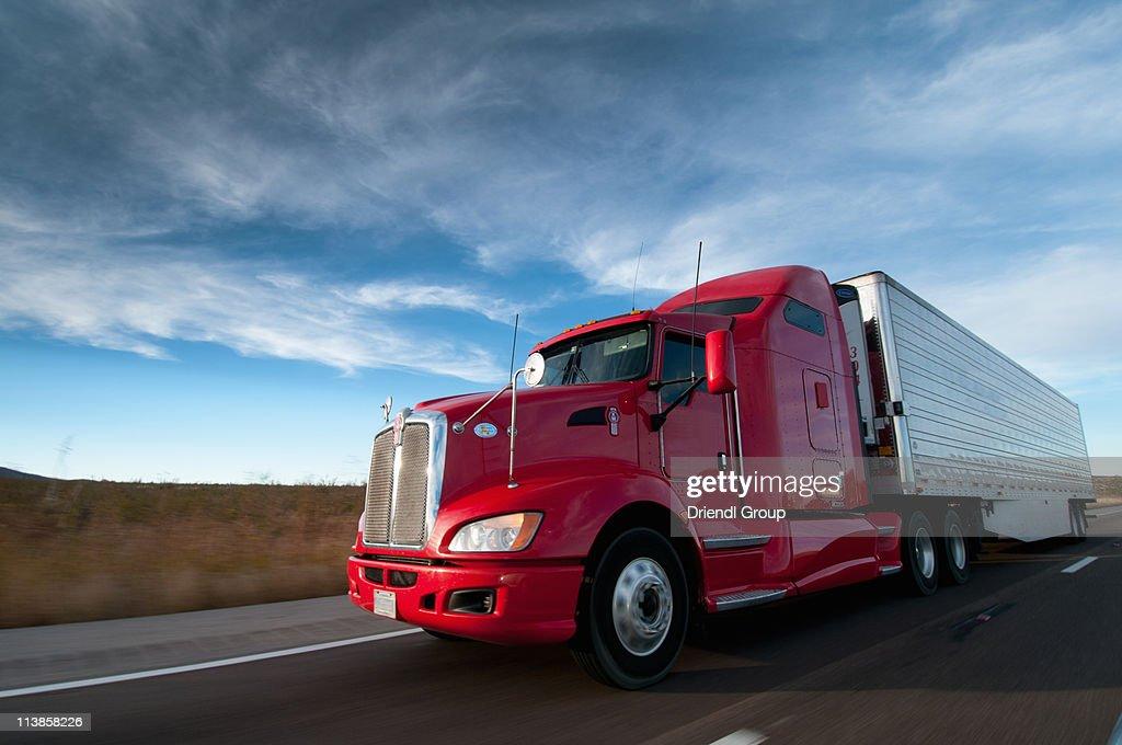 Truck on Highway. : Stock Photo