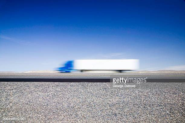 Truck on highway (blurred motion)