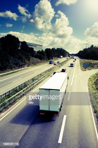 Truck on the freeway - german Autobahn
