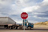USA, Truck passing stop sign