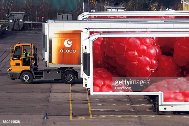 A truck pushes an articulated lorry trailer into position at the Ocado Group Plc distribution centre in Dordon UK on Friday Dec 16 2016 Ocado...