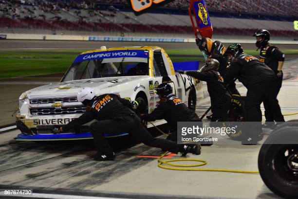 Truck Series Chase contender Kaz Grala Kilos Greek Extra Virgin Olive Oil Chevrolet pits for tires and fuel during the NASCAR Playoff Las Vegas 350...