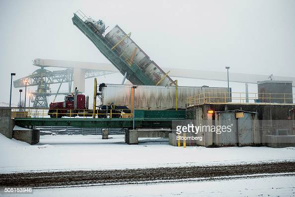 A truck tipper deposits a delivery of wood chips to the Resolute Forest Products mill in Thunder Bay Canada Ontario on Thursday Jan 7 2016 Resolute...