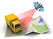 3d illustration of cargo satellite tracking concept