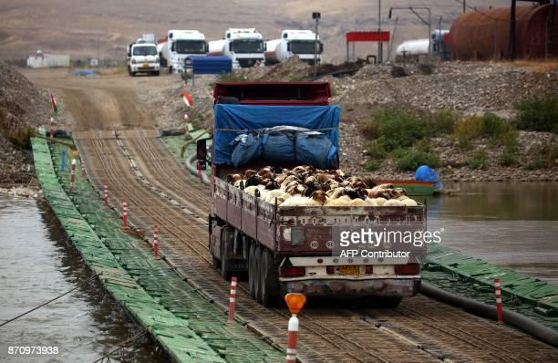 A truck transports livestock from Syria's northeastern Kurdish area into Iraq across the Tigris river just south of the threeway border crossing...