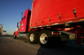 A truck travels the I210 freeway as prices for diesel and gasoline continue to rise and the cost of crude oil soars to a record high of more than...