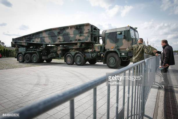 A truck with a launchable bridge is seen at the 25th International Defence Industry Exhibition on 8 September 2017