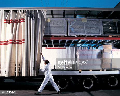 Truck with goods on board