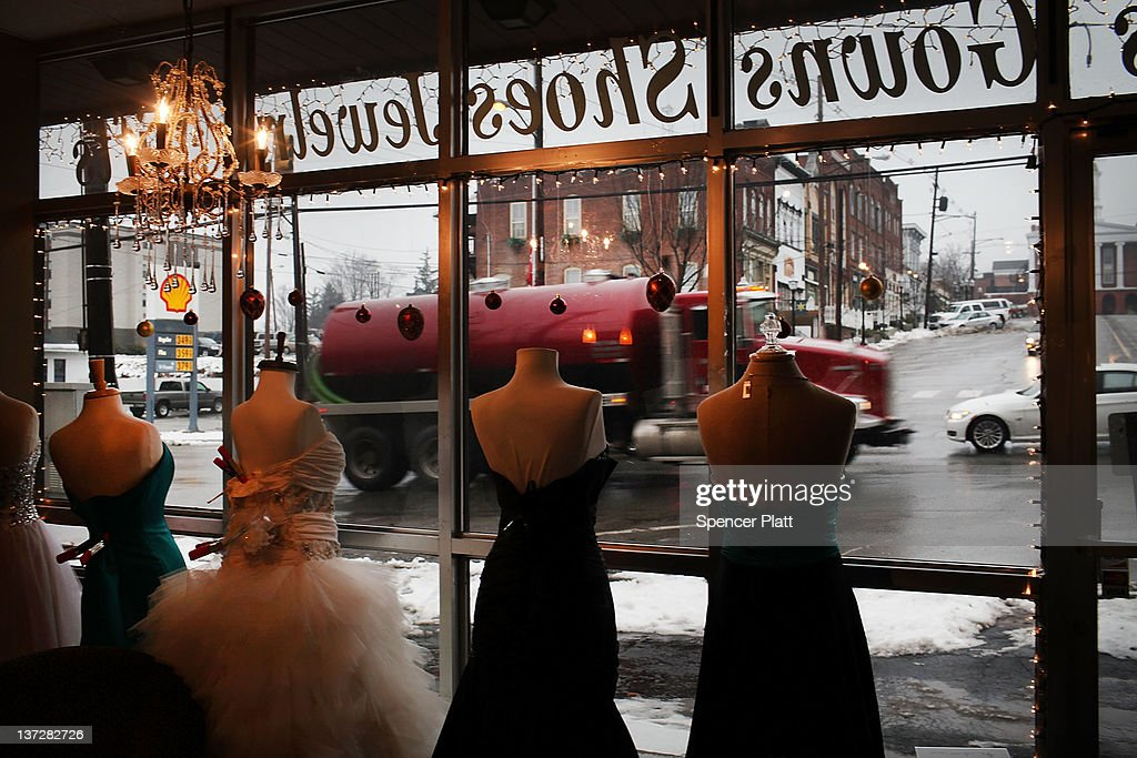 A truck with the natural gas industry, one of thousands that pass through the area daily, drives by a dress shop on January 17, 2012 in Montrose, Pennsylvania. Hydraulic fracturing, also known as fracking, stimulates gas production by injecting wells with high volumes of chemical-laced water in order to free-up pockets of natural gas below. The process is controversial with critics saying it could poison water supplies, while the natural-gas industry says it's been used safely for decades. While New York State has yet to decide whether to allow fracking, economically struggling Binghamton has passed a drilling ban which prohibits any exploration or extraction of natural gas in the city for the next two years. The Marcellus Shale Gas Feld extends through parts of New York State, Pennsylvania, Ohio and West Virginia and could hold up to 500 trillion cubic feet of natural gas.