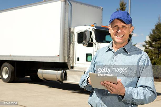 Trucker and Computer Tablet