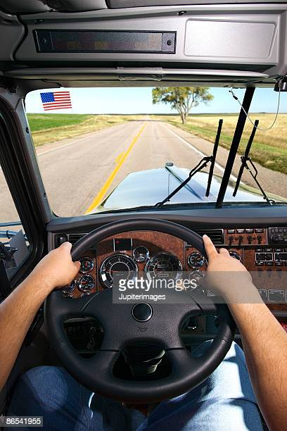Trucker driving