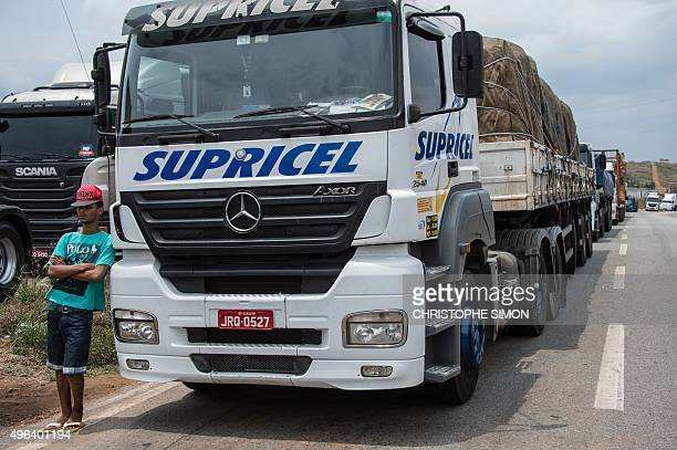 Truckers remain on standby as lorry drivers on strike block the road in Joao Monlevade 80 km from Belo Horizonte Brazil on November 9 2015 during a...