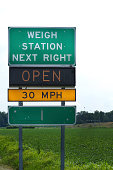 Weigh Station sign on highway to direct truckers to stop in and get weighed