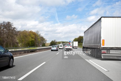 Trucks and cars on german highway