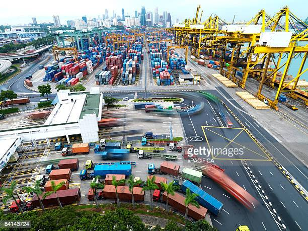 Trucks and containers at a shipping terminal