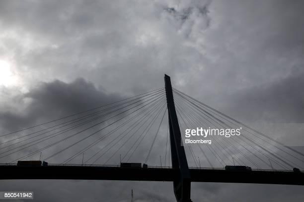 Trucks drive across the Koehlbrand suspension bridge near Hamburg port in Hamburg Germany on Wednesday Sept 20 2017 Germany's Bundesbank said last...