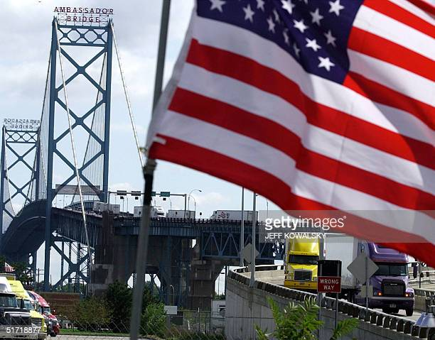Trucks head to US customs after crossing the Ambassador Bridge that connects Detroit Michigan and Windsor Ontario Canada 28 September 2001 The...