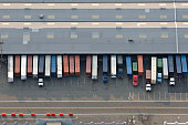 Trucks sit parked near the Red Hook Container Terminal in Brooklyn New York US in this aerial photograph taken on Wednesday July 7 2010 Manhattan's...