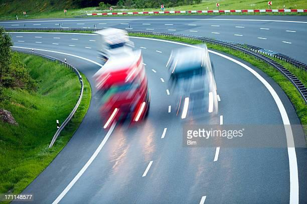 Trucks Speeding on Highway