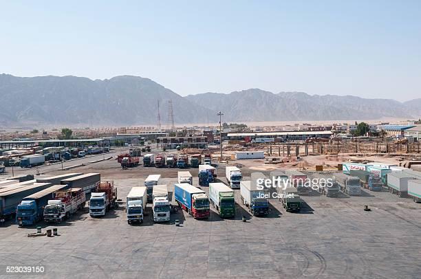 Trucks waiting in Nuweiba port, Sinai, Egypt