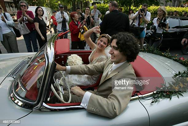 Trudeau_BW02_052805_ Justin Trudeau and bride Sophie Gregoire leave the SainteMadeleine D'Outremont Church Montreal after their wedding ceremony here...