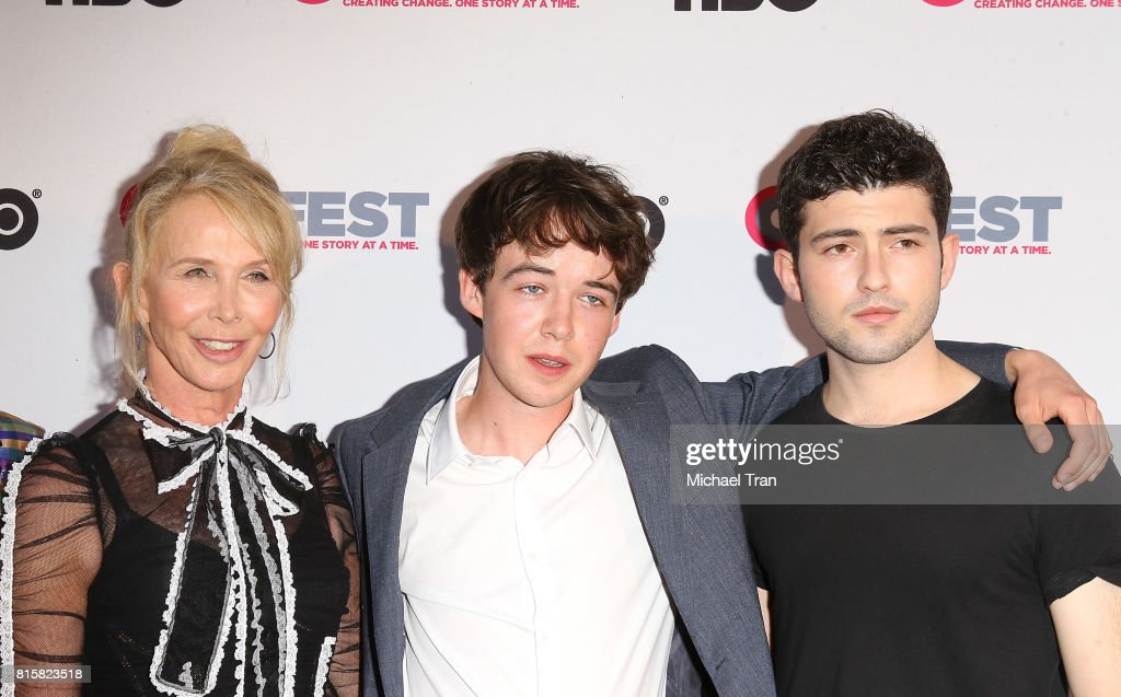 Trudie Styler, Alex Lawther and Ian Nelson arrive at the 2017 Outfest Los Angeles LGBT Film Festival - closing night gala screening of 'Freak Show' held at The Theatre at Ace Hotel on July 16, 2017 in Los Angeles, California.