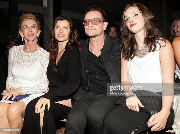Trudie Styler Alison Hewson Bono and Jordan Hewson attend the Edun fashion show during MercedesBenz Fashion Week Spring 2014 at Skylight Modern on...
