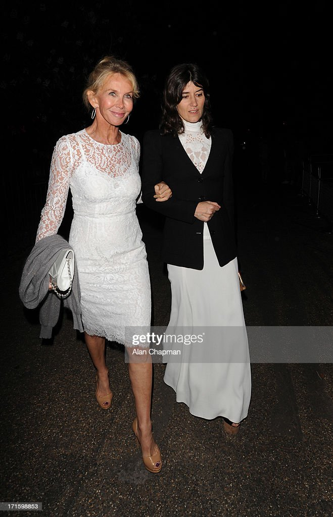 Trudie Styler (L) and Bella Freud sighting leaving the Serpentine Summer Party on June 26, 2013 in London, England.