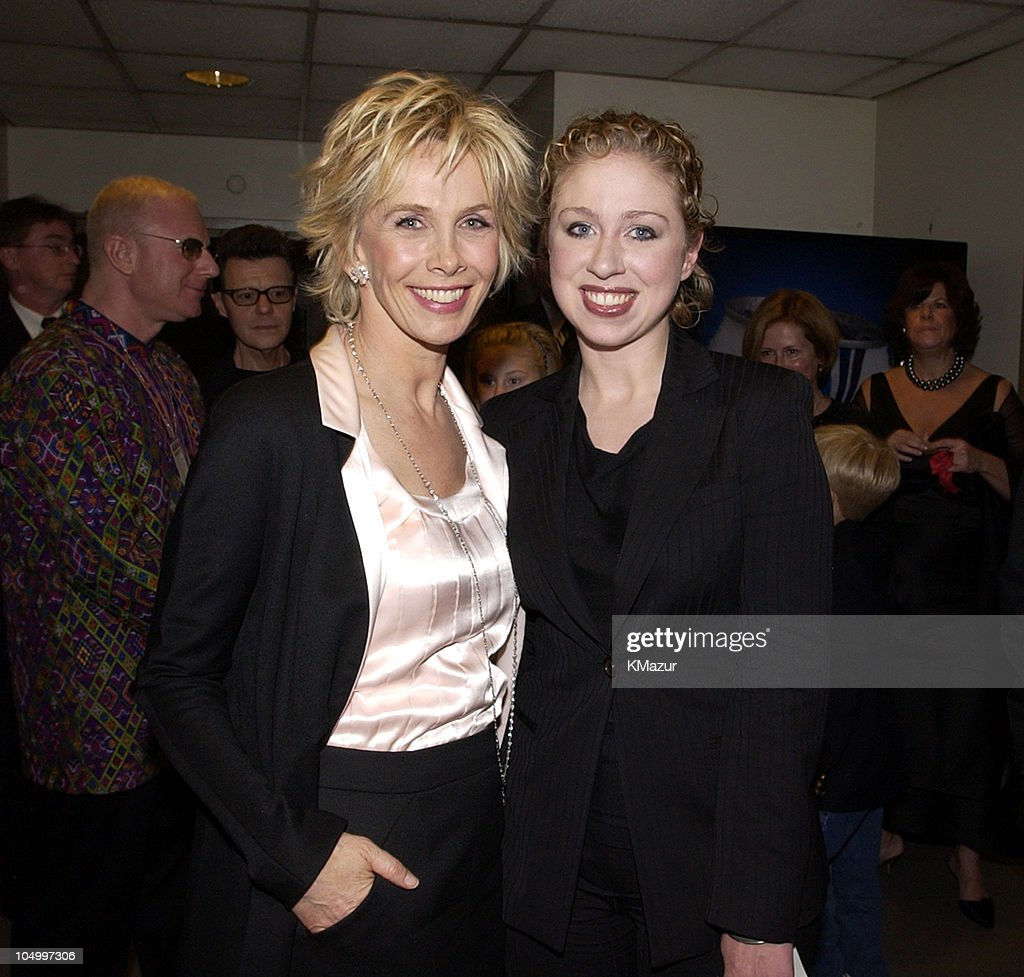 Trudie Styler and Chelsea Clinton during The 12th Annual Rainforest Foundation Concert - Backstage at Carnegie Hall in New York City, New York, United States.