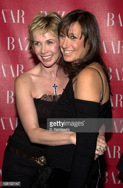 Trudie Styler and Donna Karan during Harpers Bazaar Patry in New York City New York United States