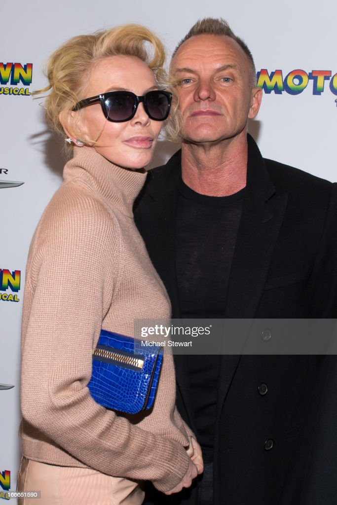 <a gi-track='captionPersonalityLinkClicked' href=/galleries/search?phrase=Trudie+Styler&family=editorial&specificpeople=203268 ng-click='$event.stopPropagation()'>Trudie Styler</a> (L) and musician Sting attend the Broadway opening night for 'Motown: The Musical' at Lunt-Fontanne Theatre on April 14, 2013 in New York City.