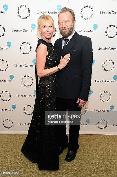 Trudie Styler and Sting attend Sinatra Voice for A Century Event at David Geffen Hall on December 3 2015 in New York City