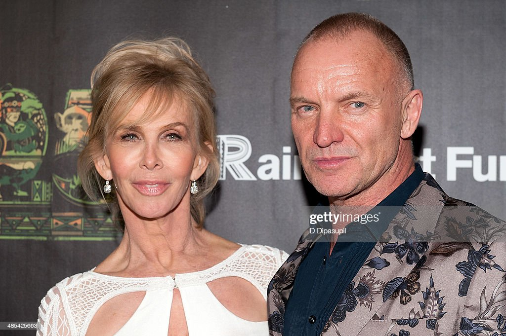 <a gi-track='captionPersonalityLinkClicked' href=/galleries/search?phrase=Trudie+Styler&family=editorial&specificpeople=203268 ng-click='$event.stopPropagation()'>Trudie Styler</a> (L) and Sting attend the after party for the 25th Anniversary concert for the Rainforest Fund at the Mandarin Oriental Hotel on April 17, 2014 in New York City.