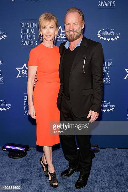 Trudie Styler and Sting attend the Clinton Global Citizen Awards during the second day of the 2015 Clinton Global Initiative's Annual Meeting at the...