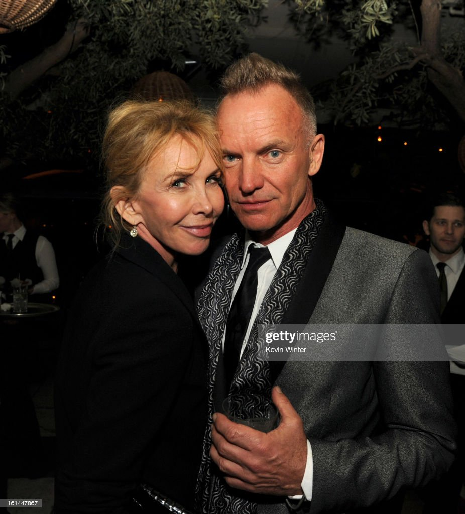 <a gi-track='captionPersonalityLinkClicked' href=/galleries/search?phrase=Trudie+Styler&family=editorial&specificpeople=203268 ng-click='$event.stopPropagation()'>Trudie Styler</a> and Sting attend the Maroon 5 Grammy After Party & Adam Levine Fragrance Launch Event on February 10, 2013 in West Hollywood, California.