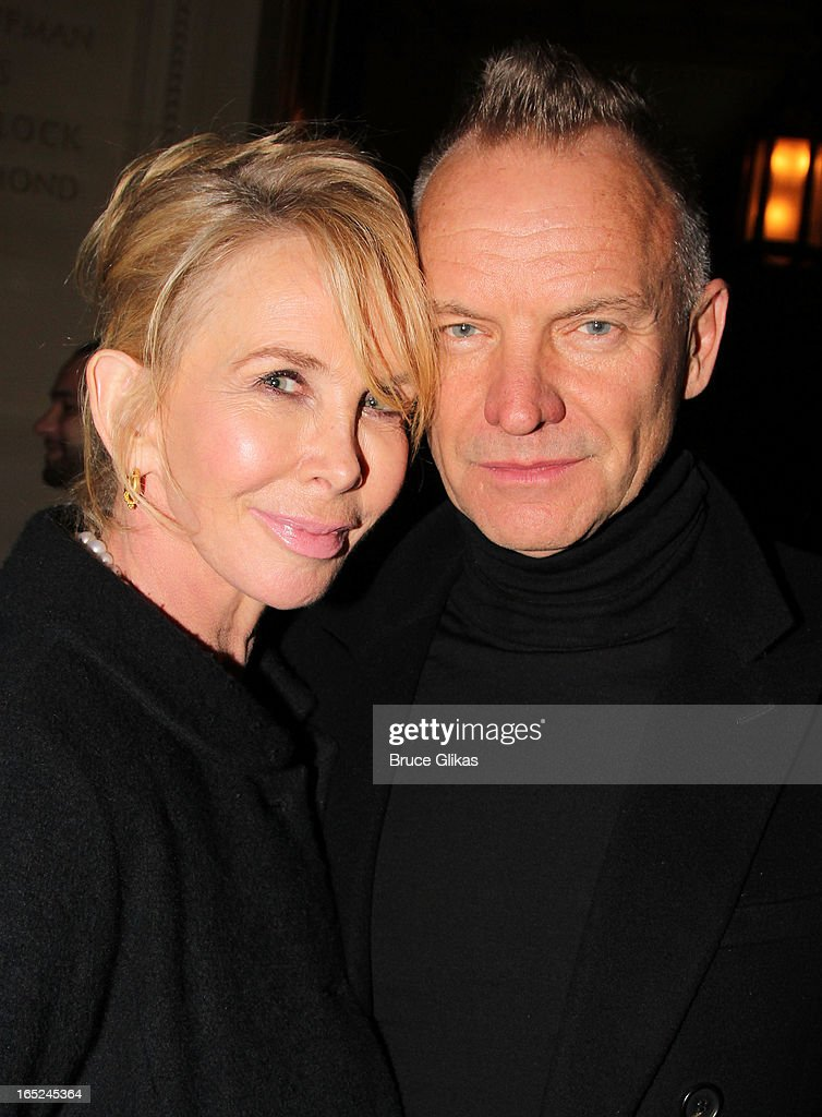<a gi-track='captionPersonalityLinkClicked' href=/galleries/search?phrase=Trudie+Styler&family=editorial&specificpeople=203268 ng-click='$event.stopPropagation()'>Trudie Styler</a> and Sting attend the opening night party for Broadway's 'Lucky Guy' at Gotham Hall on April 1, 2013 in New York City.