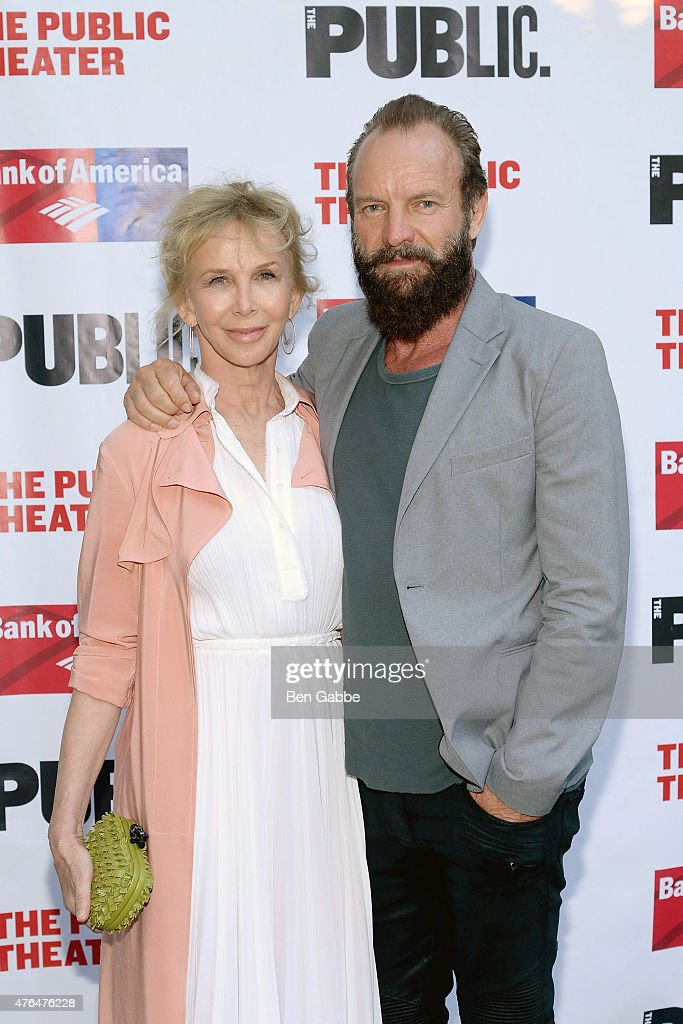 Trudie Styler (L) and Sting attend The Public Theater's Annual Gala at Delacorte Theater on June 9, 2015 in New York City.