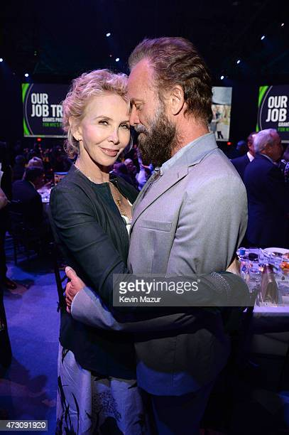 Trudie Styler and Sting attend The Robin Hood Foundation's 2015 Benefit at Jacob Javitz Center on May 12 2015 in New York City