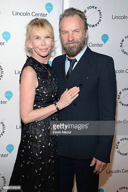 Trudie Styler and Sting attend the Sinatra Gala with New York Philharmonic at Lincoln Center's David Geffen Hall on December 3 2015 in New York City