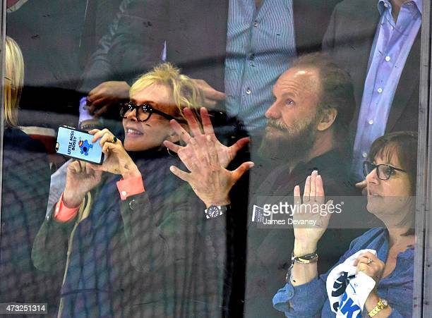 Trudie Styler and Sting attend the Washington Capitals vs New York Rangers game at Madison Square Garden on May 13 2015 in New York City