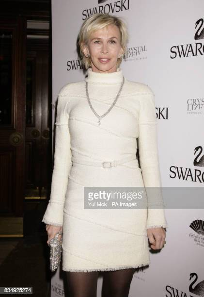 Trudie Styler arrives at the Mandarin Oriental in Knightsbridge before switching on a five metre high Swarovski Crystal Snowflake in central London