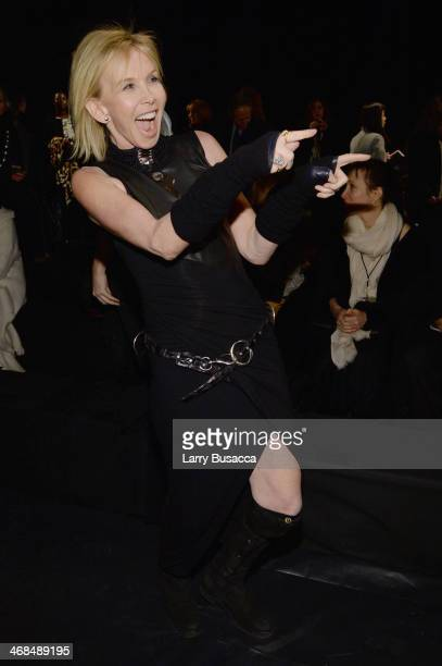 Trudie Styler attends the Donna Karan New York 30th Anniversary fashion show during MercedesBenz Fashion Week Fall 2014 on February 10 2014 in New...