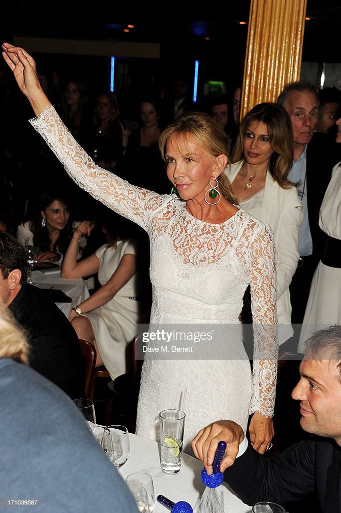 REQUIRED Trudie Styler dances at the Hoping Foundation's 'Rock On' benefit evening for Palestinian refugee children at Cafe de Paris on June 20 2013...