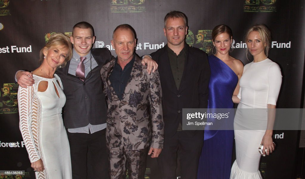 Trudie Styler, Giacomo Sumner, Sting, Joe Sumner, Fuchsia Sumner, and Mickey Sumner attend the 25th Anniversary Rainforest Fund Benefit at Mandarin Oriental Hotel on April 17, 2014 in New York City.