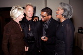 Trudie Styler Sting Herbie Hancock and Nancy Willson converse at the Thelonious Monk Institute of Jazz and the Recording Academy Los Angeles Chapter...