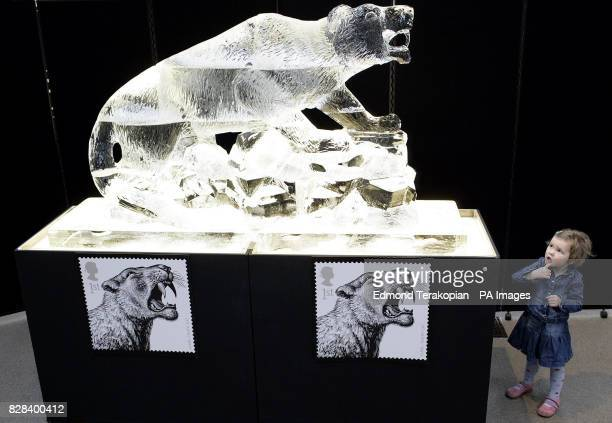 Trudy Brady looks in awe at the life size ice sculpture of the SabreTooth cat which takes centre stage as the 'Ice Age' returns to Britain with the...