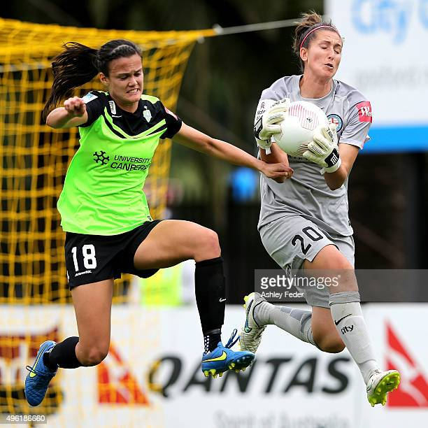 Trudy Burke goalkeeper of Melbourne City saves a goal during the round four WLeague match between Canberra United and Melbourne City FC at Central...