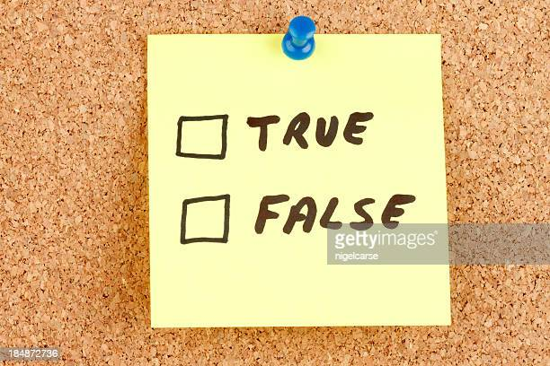 True and False Checkboxes on an Adhesive Note